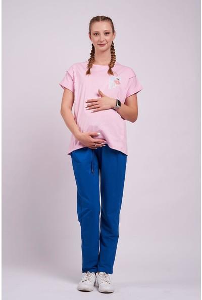Mamma Lattes 2li Lohusa Takımı Emzirme Tişörtü Baskılı Pembe ve Eşofman Altı Mavi