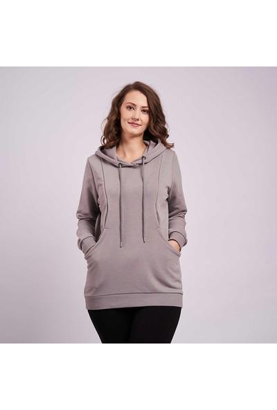 Mamma Lattes Hamile ve Emzirmeye Uygun Olarak Tasarlanmış Pamuklu Kapşonlu Sweatshirt, Metalik Gri