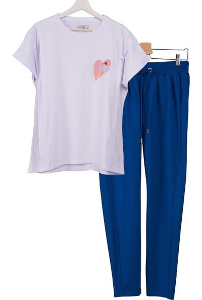 Mamma Lattes 2li Lohusa Takımı Emzirme Tişörtü Baskılı Beyaz ve Eşofman Altı Mavi