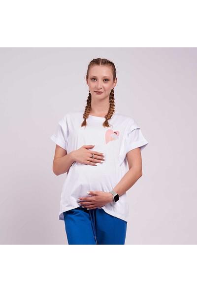 Mamma Lattes Hamile ve Emzirme Tişörtü %100 Pamuk Beyaz Baskılı