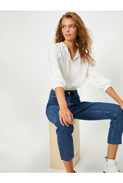 Koton Kadın 3/4 Kol Dantel Detaylı Bluz