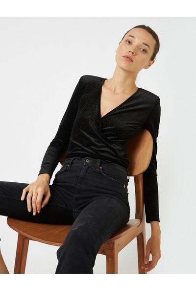 Koton Kadın Uzun Kollu Kadife Wrap Bluz