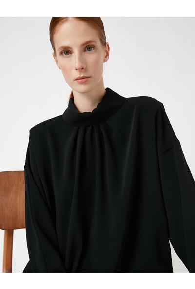 Koton Kadın Balikçi Yaka Vatkali Uzun Kollu Bluz