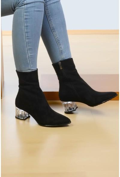 Roy Jones Kadın Bot Çizme Modelleri Cam Topuklu Fermuarlı Bot 99