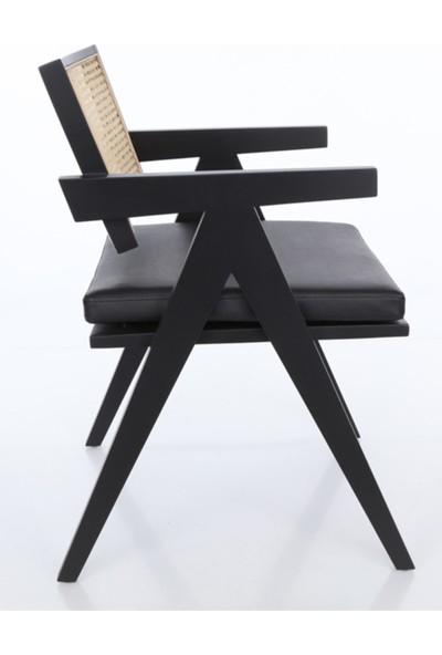 Sandalye Online Bacio Siyah Ahşap Döşemeli Sandalye