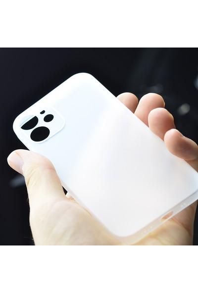 Kny Apple iPhone 12 Mini Kılıf Ultra Ince Sert Pp Kapak+Cam Ekran Koruyucu Siyah