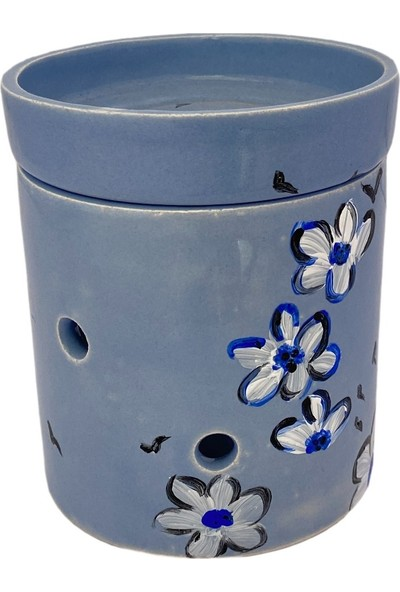By Dilek Konakoğlu Seramik Dekoratif Buhurdanlık Mavi beyaz çiçek desenli