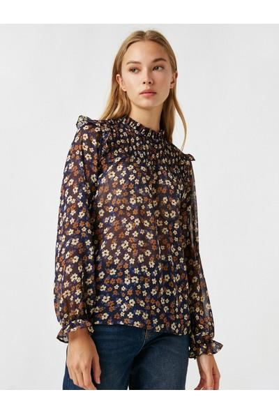 Koton Kadın Balıkçı Yaka Uzun Kollu Çiçekli Bluz