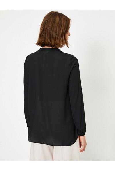 Koton Kadın V Yaka Uzun Kollu Krep Bluz