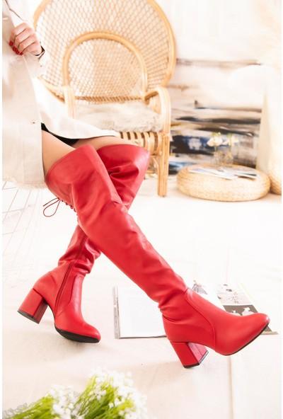 Limoya Serena Kırmızı Bağcık Detaylı Alçak Kare Topuklu Çizme