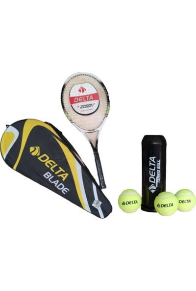 Delta Blade L2 27 İnç Tek Parça Tenis RaketiTenis Maç Topu 3 Adet