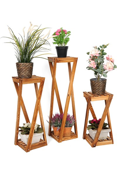 Wooden City Ahşap Çiçeklik Ahşap Üçlü Saksılık Dekoratif Çiçek Stand 3'lü Set