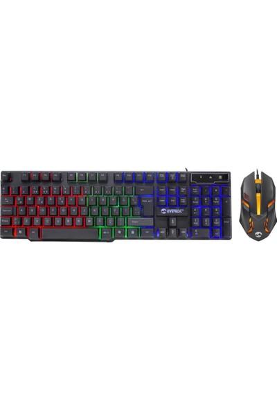 Everest KM-G77 X-Vayne Siyah USB Gökkuşağı Zemin Aydınlatmalı Gaming Oyuncu Klavye + Mouse Set