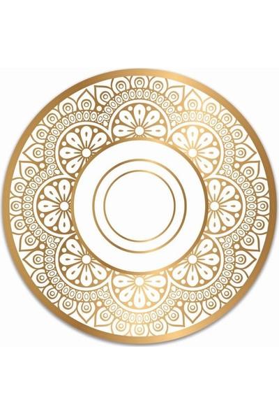 Brn Gold Etnik Desenli 4'lü Yuvarlak Amerikan Servis
