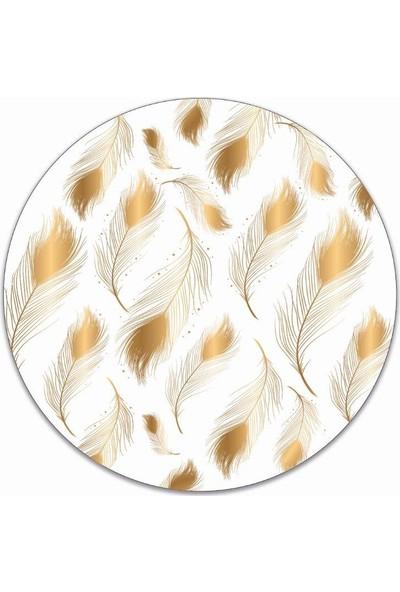 Brn Tavuzkuşu Gold Desenli 4'lü Yuvarlak Amerikan Servis