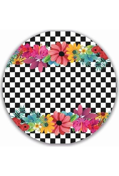 Brn Damalı ve Çiçek Desenli 4'lü Yuvarlak Amerikan Servis