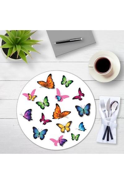 Brn Renkli Kelebek Desenli 4'lü Yuvarlak Amerikan Servis