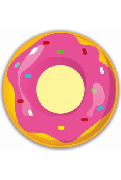 Brn Pembe Donut Desenli 4'lü Yuvarlak Amerikan Servis