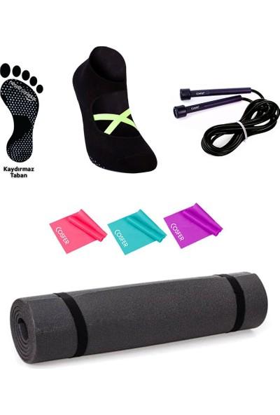 Cosfer-10 mm Mat- Pilates Çorabı Kaymaz Taban 37-44 - Atlama Ipi- 3'lü Pilates Bandı Lastiği
