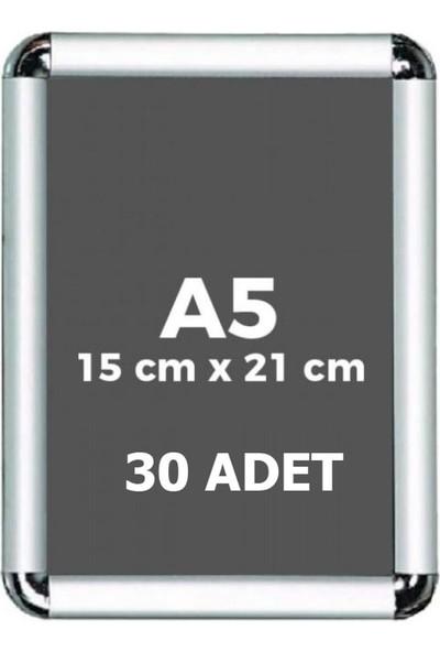 Fitfiyat A5 Açılır Kapanır Alüminyum Rondo Köşe Çerçeve 15 x 21 cm 30 Adet