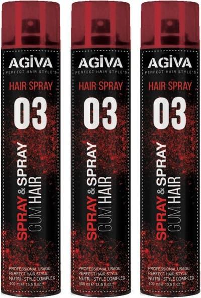 Agiva Saç Spreyi Gum Hair 400 ml X3