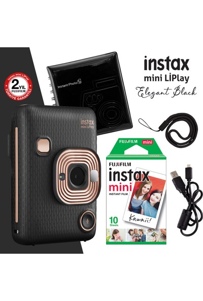 Instax Mini Liplay Hybrid Elegant Black Fotoğraf Makinesi + Akseusar Seti