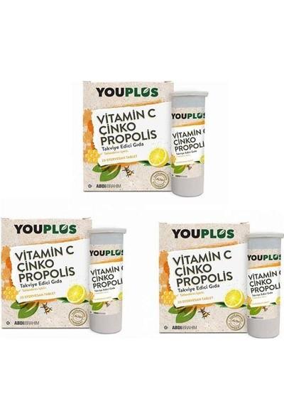Youplus Youplus Vitamin C, Çinko, Propolis Efervesan Tablet Takviye Edici Gıda 3 Adet