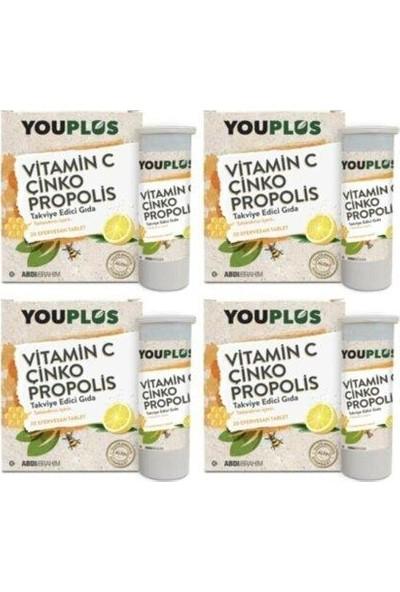Youplus Vitamin C, Çinko, Propolis Efervesan Tablet Takviye x 4 Adet