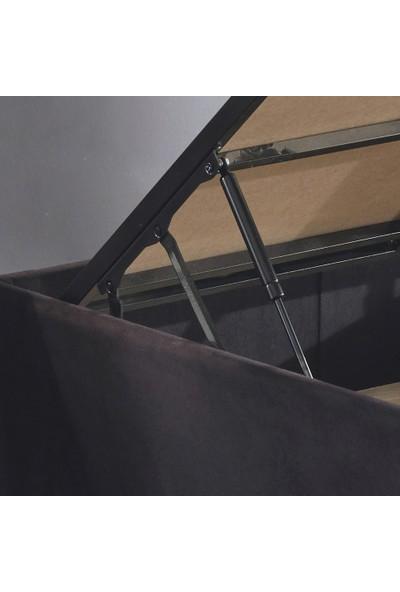 Niron Ela Baza -120X200 cm Tek Kişilik Sandıklı Siyah Kumaş Baza Silinebilir Soho Kumaş