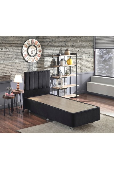 Niron Ela Baza ve Başlık Seti - 90X190 cm Tek Kişilik Siyah Kumaş Baza ve Başlığı Silinebilir Soho Kumaş