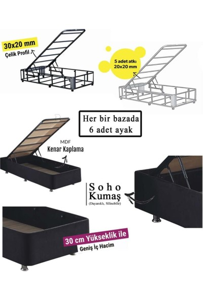 Niron Ela Baza ve Başlık Seti -100X200 cm Tek Kişilik Siyah Kumaş Baza ve Başlığı Silinebilir Soho Kumaş