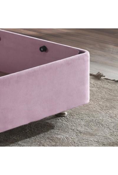 Pinky Baza - 90X190 cm Tek Kişilik Sandıklı Pembe Kumaş Özel Baza Silinebilir Soho Kumaş Niron