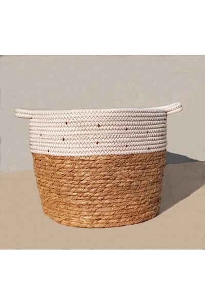 Linanca 3 Lü Hasır Sepet, Saksı Sepeti, Dekoratif Sepet Kahve-Beyaz