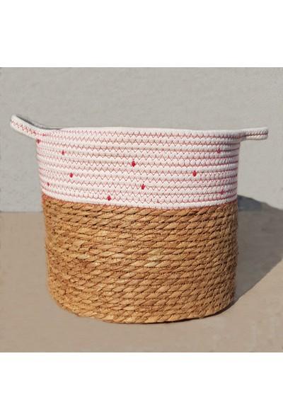 Linanca 3 Lü Hasır Sepet, Saksı Sepeti, Dekoratif Sepet Kırmızı-Beyaz
