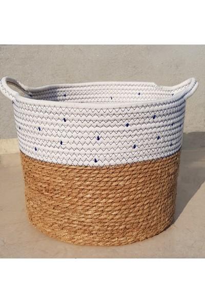 Linanca 3 Lü Hasır Sepet, Saksı Sepeti, Dekoratif Sepet Mavi-Beyaz