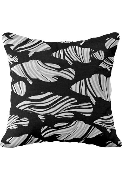 Çift Tarafı Baskılı Zebra Desenli 4'lü Yastık Kırlent Kılıfı Siyah Beyaz