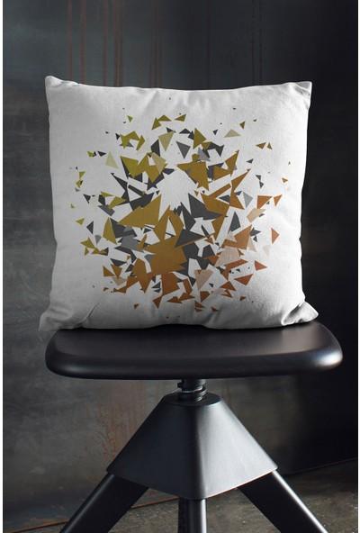 Çift Tarafı Baskılı Cam Kırığı Desenli Yastık Kırlent Kılıfı Kahve Siyah Beyaz