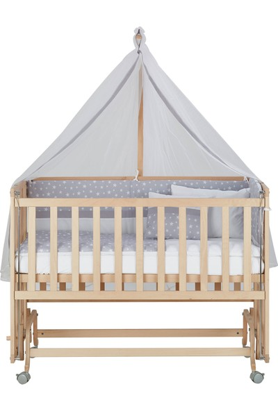 Babycom Doğal Boyasız 4 Kademeli 60 x 120 Anne Yanı Tekerlekli Ahşap Beşik + Gri Yıldızlı Uyku Seti