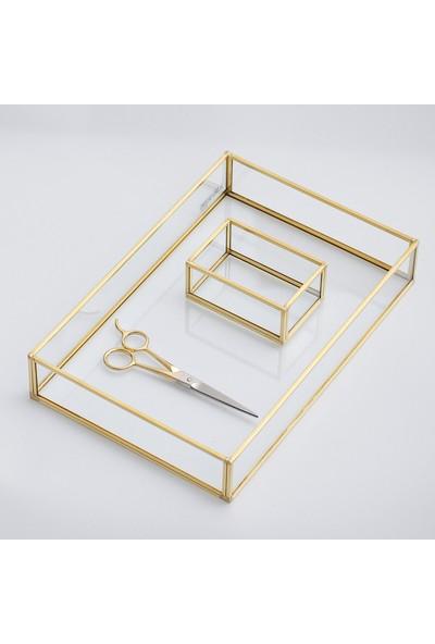 El Crea Designs Nişan Tepsisi Yüzük Kutusu Makas Gold Pirinç Brass 30 x 20 x 6 cm