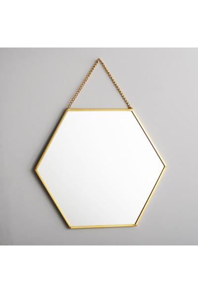 El Crea Designs Ayna Altıgen Duvar Askılı Pirinç 20 x 18 cm