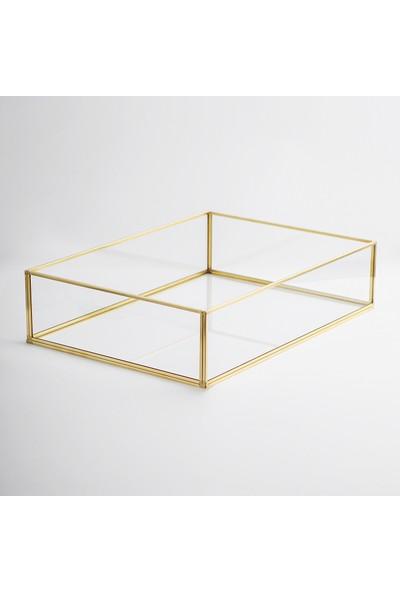 El Crea Designs Nişan Tepsisi Damat Kahvesi Sunum Tepsisi Gold Pirinç Brass 35 x 25 x 8 cm