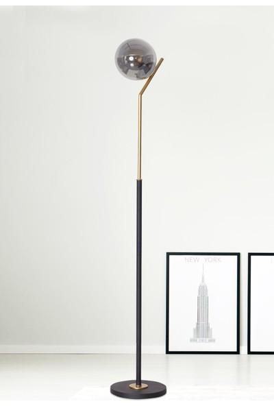 Luzarana Elit Sarı-Siyah Metal Gövde Füme Camlı Tasarım Lüx Yerden Aydınlatma Lambader