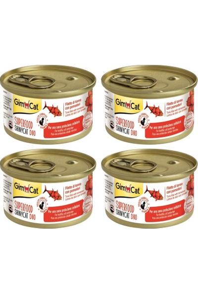 Gimcat Shinycat Sf Fileto Tuna Balıklı Domatesli Konserve Kedi Maması 70 gr x 4 Adet