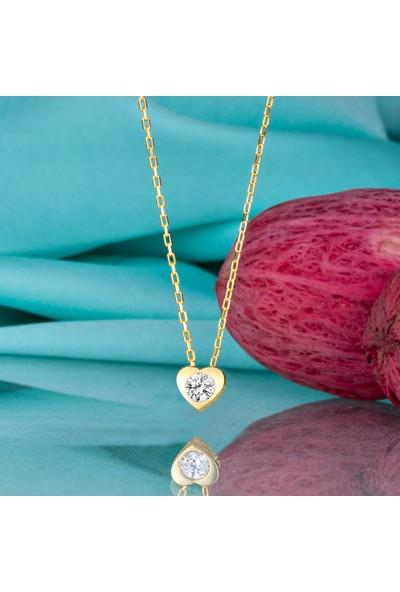 Swarovski Gümüş Swarovski Taşlı Sıvama Kalp Altın Kaplama Kadın Kolye