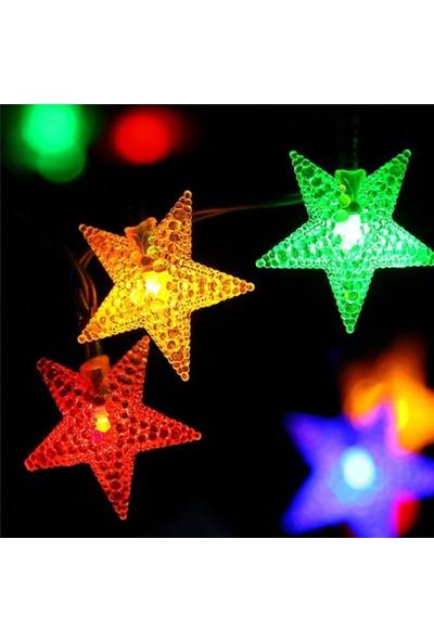 Real Renkli Rgb LED Fişli 5 M 20 Yıldızlı Dekoratif Ip Yılbaşı Süs LED Işık