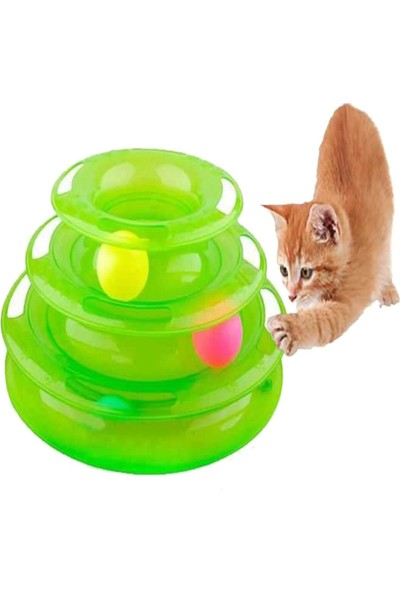 Qax Tower Of Tracks Toplu Yuvarlak Kedi Oyuncağı Kedi Eğlencesi Yeşil