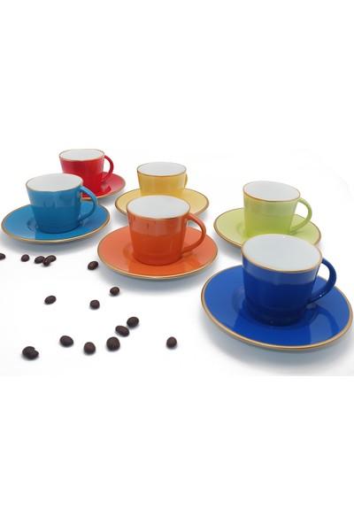 Kütahya Porselen Toledo Renkli Kahve Fincan Takımı 6+6 Parça