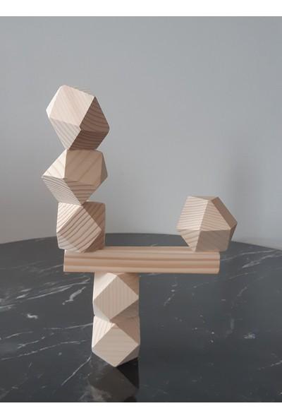 Natural Wood Blocks Waldorf Denge Kulesi Masif Ahşap