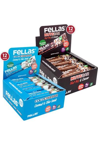 Fellas Meyve Bar 40 G Süper Ikili Kutu 24 Adet - Hind.cevizi &chia x 12 Adet + Karışık Kuruyemişli x 12 Adet