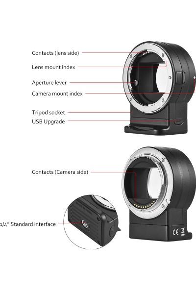 Viltrox Nf-E1 Otomatik Odak Lens Montaj Adaptörü Nikon